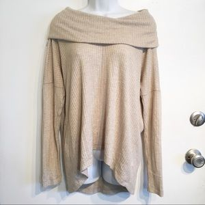 Lucky Brand Waffle Knit Cowl Neck Thermal Pullover